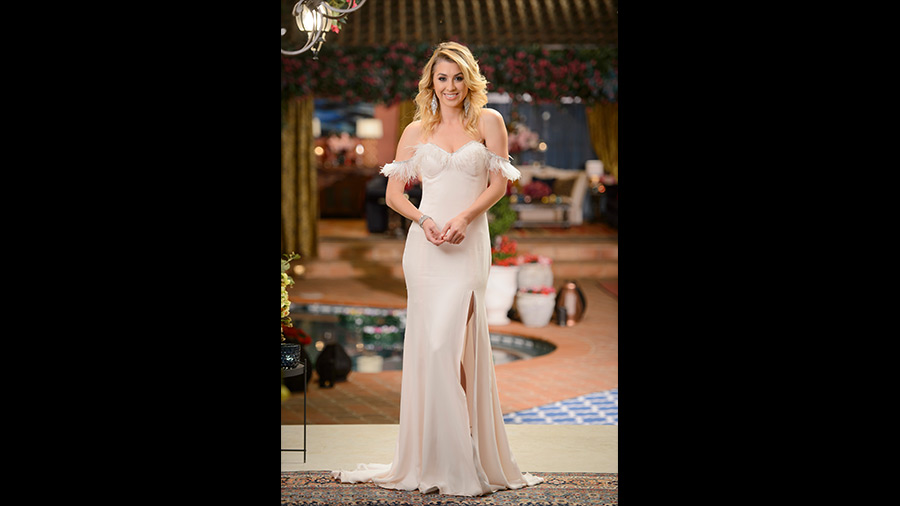 Alex white feather dress The Bachelor Australia 2016
