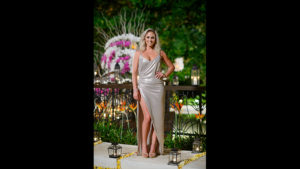 Nikki the bachelor australia silver dress